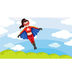 A female superhero in the sky vector