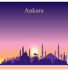 Ankara silhouette on sunset background vector image