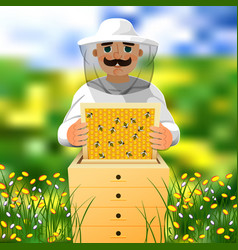 Beekeeper on apiary a man in a white beekeeper vector