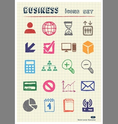 Business web icons set drawn by color pencils vector image