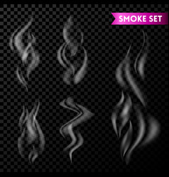 Cigarette smoke waves set isolated on transparent vector