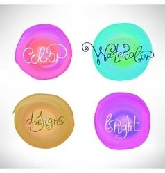 Circles abstract watercolor splash design elements vector