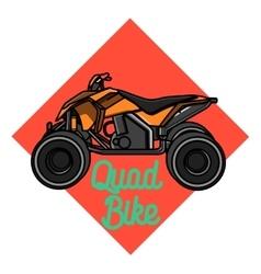 Color vintage quad bike emblem vector image vector image