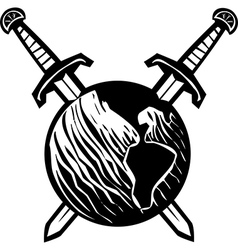 Crossed swords earth vector