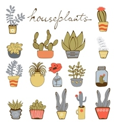 Cute hand drawn collection of house plants vector image vector image