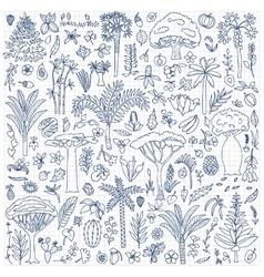 Doodle Forest Set vector image vector image