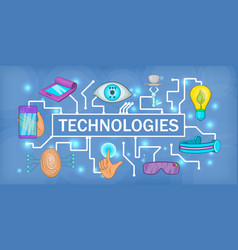 Future tech banner horizontal cartoon style vector