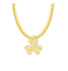 Gold chain jewelry whith three leaf clover vector