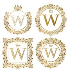 Golden letter w vintage monograms set heraldic vector
