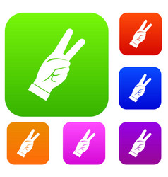 hand showing victory sign set color collection vector image vector image