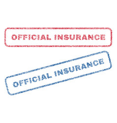 Official insurance textile stamps vector