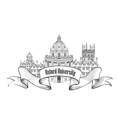 Oxford univercity lnadmark label uk city skyline vector