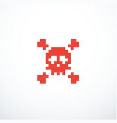 pixel skull icon vector image