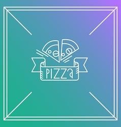 pizza design element Linear style Outline emblem vector image vector image