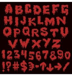 Red font smudges alphabet splashing vector