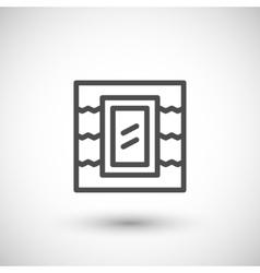 Roof window line icon vector image vector image