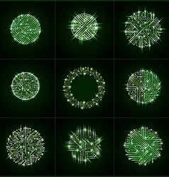 Round luminescent green circuit boards with vector