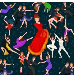 Seamless pattern dancing people dancer bachata vector