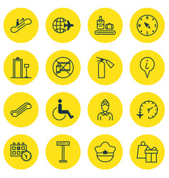 Set of 16 travel icons includes appointment vector