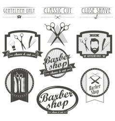 Set of vintage barber shop logo labels badges vector image vector image