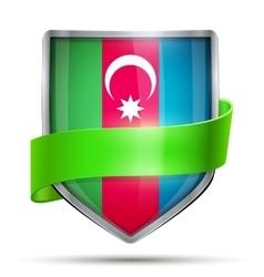 Shield with flag Azerbaijan and ribbon vector image vector image