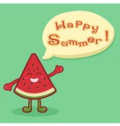 Watermelon Fruit Slice Happy Summer Speech Bubble vector image