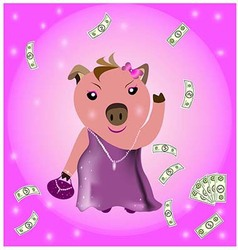 Wealthy pig vector