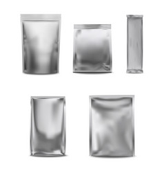 white blank foil pack plastic bag set vector image