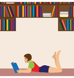 Young woman reading a book vector