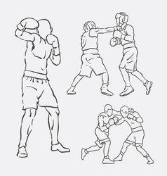 Boxing male action style vector