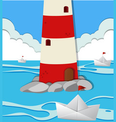Ocean scene with lighthouse and paper boats vector