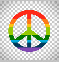 Rainbow peace symbol on transparent background vector