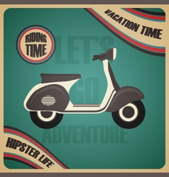 281retro scooter poster vector image vector image