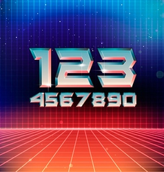 80s retro futuristic numbers vector