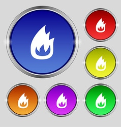 Fire flame icon sign round symbol on bright vector