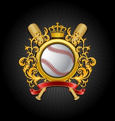 Coat of arms baseball symbol vector