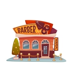 Barber shop building with bright banner vector