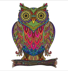 Beautiful decorative owl with a lot of de vector