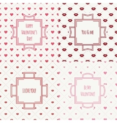 Set of red pink romantic lips kiss seamless vector image