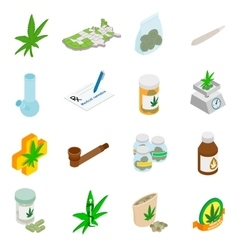 Medical marijuana icons vector