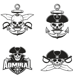 Set of pirate skulls vector