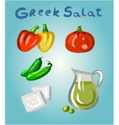 Greek salad and its ingredients vector