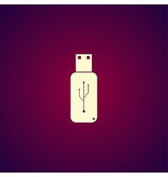 Usb icon - flat button vector