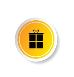 Sticker in yellow color with gift box vector