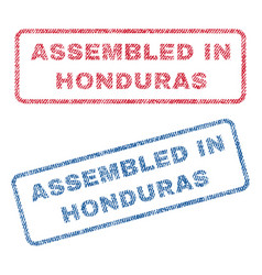 Assembled in honduras textile stamps vector