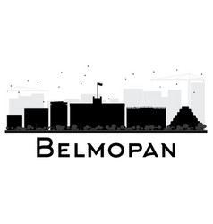belmopan city skyline black and white silhouette vector image vector image