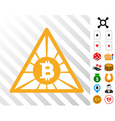Bitcoin pyramid icon with bonus vector