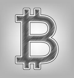 Bitcoin sign pencil sketch imitation vector