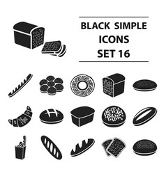 bread set icons in black style big collection vector image