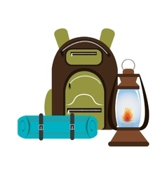 camping bag with lamp isolated icon design vector image